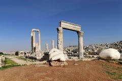Temple of Hercules, Roman Corinthian columns at Citadel Hill, Amman, Jordan Stock Images