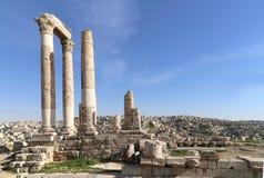 Temple of Hercules, Roman Corinthian columns at Citadel Hill, Amman, Jordan Royalty Free Stock Photos