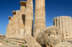 Temple of Hercules - Sicily. Extraordinary greek temple in the Valley of the Temples in Agrigento - Sicily Royalty Free Stock Photography