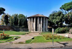 The Temple of Hercules Victor in the area of the Forum Boarium Royalty Free Stock Photography