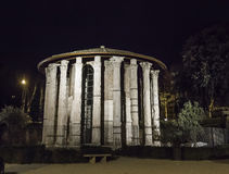 The Temple of Hercules Victor in Rome by night Royalty Free Stock Photography