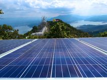 The temple is on a high mountain. Solar cell panels on high mountains. royalty free stock photo