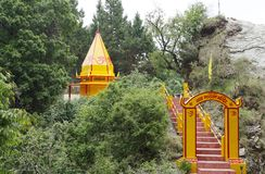 Temple on the hill above Nainital township Stock Images
