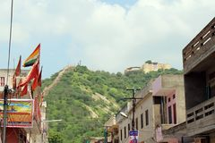 A temple on the hill in Jaipur probably SHRI GARH GANESH Ji TEM stock photo