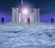 Temple with holy fire. Eye of God in the sky. Priests or monks in colorful cloaks. Human elements were created with 3D software and are not from any actual royalty free illustration