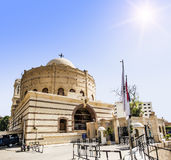 Temple of the Holy great martyr George the victorious in Cairo. Against the backdrop of the Sun Royalty Free Stock Photo