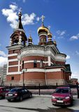 The Temple Of The Holy Great Martyr George The Victorious. In Chelyabinsk, the view on a Sunny spring day, South Ural Royalty Free Stock Images