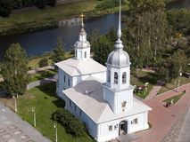 Temple of the Holy Prince Alexander Nevsky beside the river. Summer scene from around Vologda, Russia stock photo