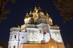 Temple of the holy women who carry peace to the earth. Kharkiv, Ukraine, night Stock Photography