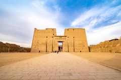 Temple of Horus Edfu / Idfu / Edfou in Egypt in sunset light. Edfu Temple is one of Egypt best destinations for tourists and is situated in Idfu City, on the royalty free stock image