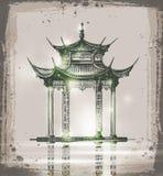 Temple Illustration tirée par la main de vecteur de croquis illustration stock