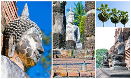 Temple image set. Set of Buddha image Temple landmark from Thailand Stock Images