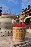 Temple and incense Stock Image