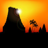 Temple, india. Silhouette of a temple, india Royalty Free Stock Photos