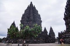 Temple indou de Prambanan en dehors de ville de Yogyakarta Image libre de droits