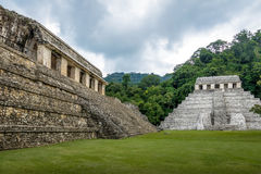 Temple of Inscriptions and Palace at mayan ruins of Palenque - Chiapas, Mexico Royalty Free Stock Photography