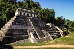 The Temple of the Inscriptions, Palenque, Chiapas, Mexico. The Temple of the Inscriptions 'House of the Nine Sharpened Spears' is the largest Mesoamerican stock photography