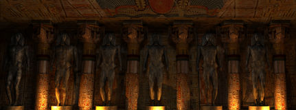Temple Interior. Ancient Egyptian Temple interior with an Ancient Egyptian statues Royalty Free Stock Photo