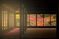 Temple Interior with autumn foliage color, Kyoto. Japanese temple Interior with autumn foliage colors at sunset of Tenju-an and Nanzen-ji temple, Kyoto, Japan Stock Image