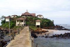 Temple on the island. Buddhist temple near sea shore in Matara, Sri Lanka Stock Photos
