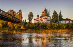 Temple on the island. The temple on the island the river in the morning sun Royalty Free Stock Photo