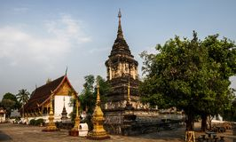Wat That Litterally : `the Stupa temple`, Luang Prabang Province, Laos,. This temple and its garden are surely the most beautiful in Luang Prabang. It is the stock photography