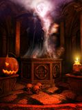 Temple with Jack o Lantern and skulls Royalty Free Stock Image