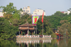 The Temple of the Jade Mountain on lake Joaquim. Hanoi, Vietnam Royalty Free Stock Photos