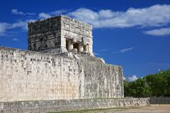 Temple of the Jaguar, Chichen Itza, Mexico. Temple of the Jaguar at the end of Great Ball Court for playing pok-ta-pok near Chichen Itza pyramid, Mexico Stock Photo