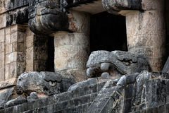 Temple of the Jaguars with the carved heads of Kukulcan Royalty Free Stock Images