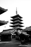 Temple in Japan, Sensoji black and white Royalty Free Stock Photography