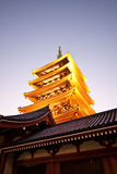 Temple in Japan, Sensoji pagoda tower Royalty Free Stock Images
