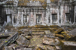 Temple in jungle. Decorated reliefs Stock Photography