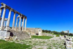 Temple of Juno Caelestis in Dougga, Tunisia. Landscape of ruins of the Temple of Juno in Dougga, Tunisia royalty free stock photography