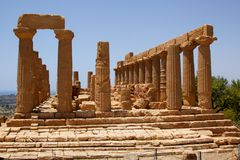 Temple of Juno Lacinia Agrigento 1. Temple of Juno Lacinia in the Valley of the Temples near Agrigento, Sicily, Italy stock image