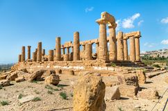 Temple of Juno located in the park of the Valley of the Temples in Agrigento, Sicily Stock Image