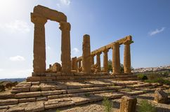 Temple of Juno in the Valley of the Temples, Agrigento, Italy. The greek temple of Juno in the Valley of the Temples, Agrigento, Italy Royalty Free Stock Photos