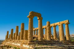 Temple of Juno. Valley of the Temples in Agrigento on Sicily. Italy stock images