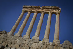 Temple of Jupiter, Baalbek Lebanon. Baalbek, Lebanon, beqaa valley. One of the biggest roman temple in the world. Were constructed between 150 CE to 250 CE stock photography
