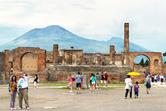 The Temple of Jupiter with Vesuvius, Pompeii, Italy Stock Photo