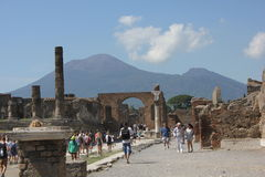 The Temple of Jupiter with Vesuvius volcano Royalty Free Stock Photo