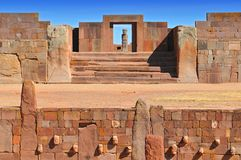 Temple Kalasasaya pre Columbian Archaeological Site in Tiwanaku, Bolivia. stock photography