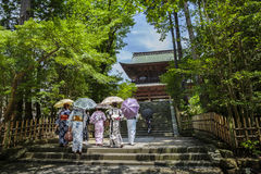 Temple in Kamakura. Women in traditional kimonos in front of a temple in Kamakura, Kanagawa prefecture, Japan Royalty Free Stock Photography