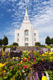 The Temple in Kansas City Missouri. With colorful flowers in the foreground stock photography