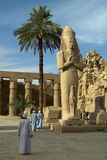 Temple of Karnak. Columns and statue in the Temple of Karnak, Egypt royalty free stock photography
