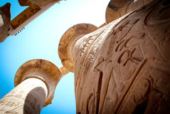 The temple of Karnak. The Central colonnade of the temple. Egypt. Located in Carnac, a small village. The village is situated on the East Bank of the Nile 2.5 stock photography