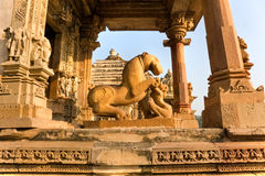 Temple in Khajuraho at sunset. Madhya Pradesh, Royalty Free Stock Photo
