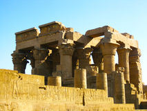 Temple of Kom Ombo. The Temple of Kom Ombo is an unusual double temple built during the Ptolemaic dynasty in the Egyptian town of Kom Ombo. Some additions to it Stock Images