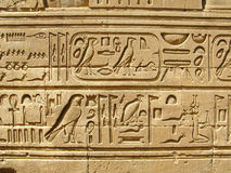 Temple of Kom Ombo, Egypt: ancient egyptian hyeroglyphs. Carved on the walls Royalty Free Stock Photos