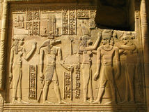Temple of Kom Ombo, Egypt: the Pharaoh and Sobek - the crocodile Royalty Free Stock Images